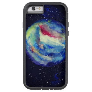 Funda Tough Xtreme iPhone 6 Caja del planeta, arte del cosmos de la acuarela