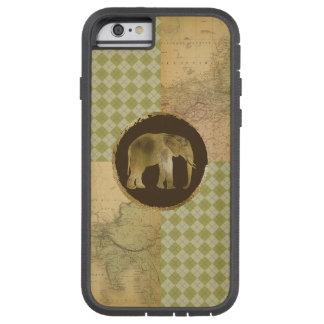 Funda Tough Xtreme iPhone 6 Elefante africano en mapa y Argyle
