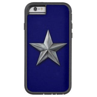 Funda Tough Xtreme iPhone 6 Estrella cepillada del tono plateado en textura