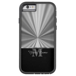 Funda Tough Xtreme iPhone 6 Falso monograma negro metálico de plata