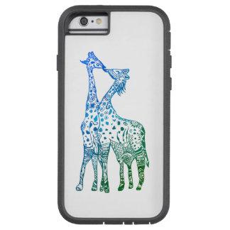 Funda Tough Xtreme iPhone 6 iPhone 6/6s, jirafas duras del verde azul de