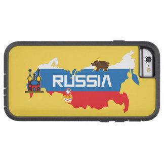 Funda Tough Xtreme iPhone 6 Mapa de Rusia con la bandera azul y roja blanca