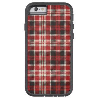 Funda Tough Xtreme iPhone 6 Modelo rojo y negro de la tela escocesa