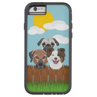 Funda Tough Xtreme iPhone 6 Perros afortunados del ilustracion en una cerca de