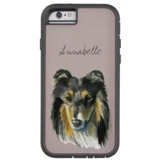 Funda Tough Xtreme Para iPhone 6 Ejemplo de la acuarela del perro del collie
