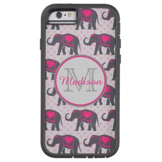 Funda Tough Xtreme Para iPhone 6 Elefantes de rosas fuertes grises en los lunares