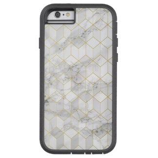Funda Tough Xtreme Para iPhone 6 Mármol blanco con el modelo del cubo del oro