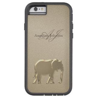 Funda Tough Xtreme Para iPhone 6 Monograma elegante de oro de la piedra arenisca