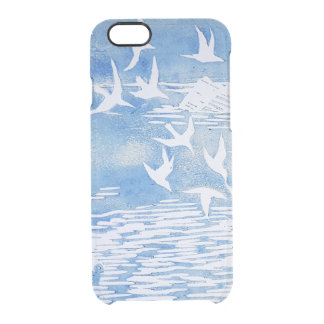 Funda Transparente Para iPhone 6/6s Arte moderno de la acuarela de los pájaros azules