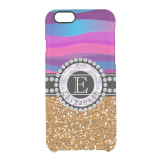 Funda Transparente Para iPhone 6/6s Azul rosado femenino, brillo del oro, diamantes,