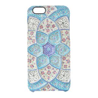 Funda Transparente Para iPhone 6/6s Azules turquesas marroquíes tradicionales, blanco,