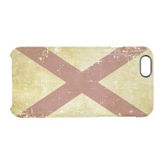 Funda Transparente Para iPhone 6/6s Bandera patriótica gastada del estado de Alabama