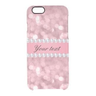 Funda Transparente Para iPhone 6/6s Brillo rosado Bokeh y diamantes personalizados