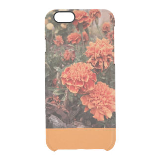 Funda Transparente Para iPhone 6/6s Caja floral anaranjada del iphone