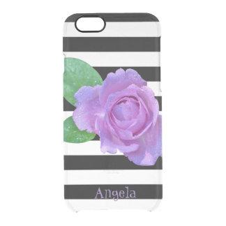 Funda Transparente Para iPhone 6/6s Color de rosa púrpura, blanco y negro