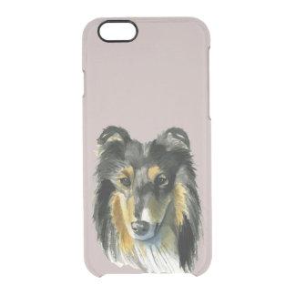 Funda Transparente Para iPhone 6/6s Ejemplo de la acuarela del perro del collie