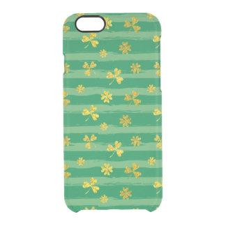 Funda Transparente Para iPhone 6/6s El verde de oro del trébol de St Patrick raya el