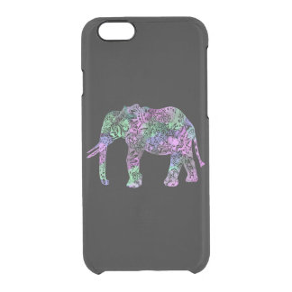 Funda Transparente Para iPhone 6/6s elefante de neón floral tribal colorido