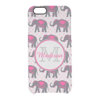 Funda Transparente Para iPhone 6/6s Elefantes de rosas fuertes grises en los lunares