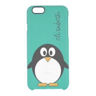 Funda Transparente Para iPhone 6/6s esmeralda linda y negro del pingüino del dibujo