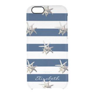 Funda Transparente Para iPhone 6/6s Estrellas de mar adorables, azules marinos