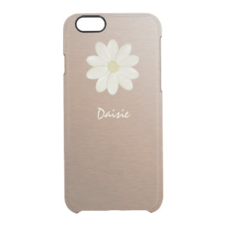 Funda Transparente Para iPhone 6/6s Margarita color de rosa cepillada de la pendiente