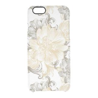 Funda Transparente Para iPhone 6/6s Modelo floral beige de las vides del Victorian del