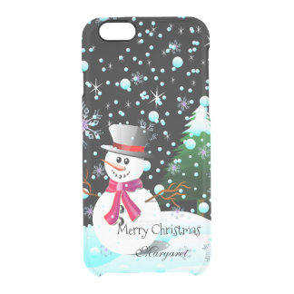 """Funda Transparente Para iPhone 6/6s Muñeco de nieve """"Felices Navidad"""" personalizadas"""
