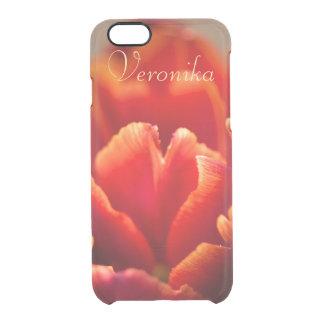 Funda Transparente Para iPhone 6/6s Tulipán rojo