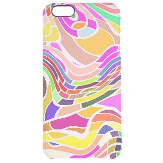 Funda Transparente Para iPhone 6 Plus Arte abstracto colorido, líneas blancas de las