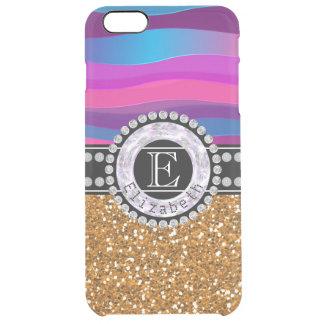 Funda Transparente Para iPhone 6 Plus Azul rosado femenino, brillo del oro, diamantes,