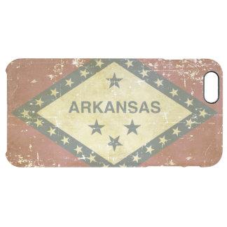Funda Transparente Para iPhone 6 Plus Bandera patriótica gastada del estado de Arkansas