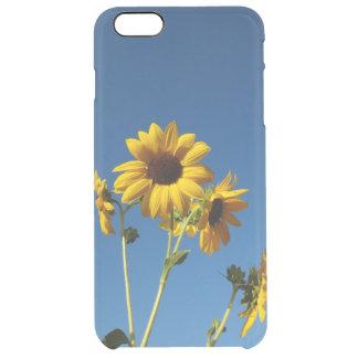Funda Transparente Para iPhone 6 Plus Caja de la foto del girasol y de la abeja