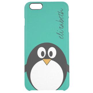 Funda Transparente Para iPhone 6 Plus esmeralda linda y negro del pingüino del dibujo