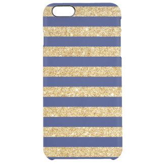 Funda Transparente Para iPhone 6 Plus Falso brillo elegante del oro y modelo de la raya