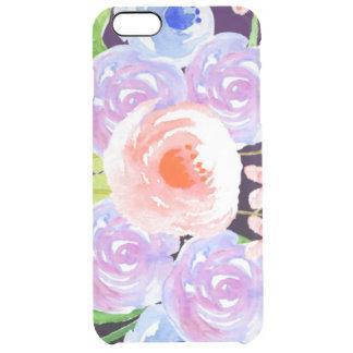 Funda Transparente Para iPhone 6 Plus Flores bonitas florales de la acuarela púrpura