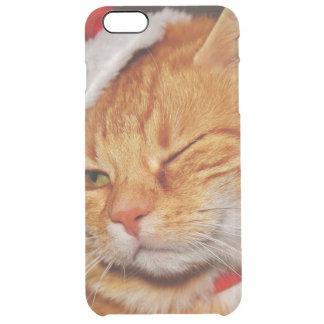 Funda Transparente Para iPhone 6 Plus Gato anaranjado - gato de Papá Noel - Felices