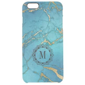 Funda Transparente Para iPhone 6 Plus Monograma de piedra de mármol elegante del azul y