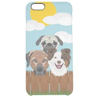 Funda Transparente Para iPhone 6 Plus Perros afortunados del ilustracion en una cerca de
