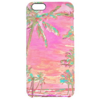 Funda Transparente Para iPhone 6 Plus PixDezines Hawaii/vintage/playa/rosa/trullo