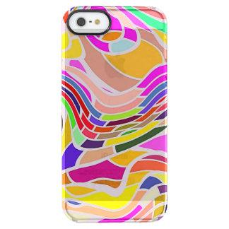 Funda Transparente Para iPhone SE/5/5s Arte abstracto colorido, líneas blancas de las