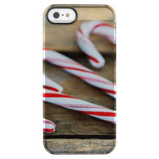 Funda Transparente Para iPhone SE/5/5s Bastones de caramelo de Chrstmas en la madera del