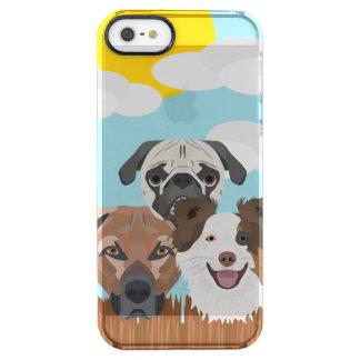 Funda Transparente Para iPhone SE/5/5s Perros afortunados del ilustracion en una cerca de