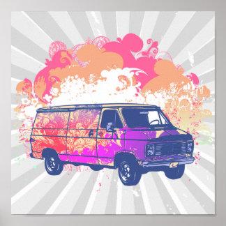 furgoneta retra del hippie del grunge póster