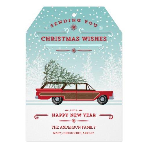 Furgoneta retra del navidad con el árbol comunicados personales