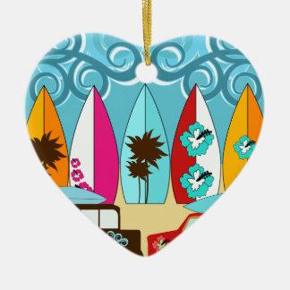 Furgonetas del Hippie del vago de la playa de las Adorno De Cerámica En Forma De Corazón