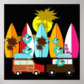 Furgonetas del Hippie del vago de la playa de las Póster