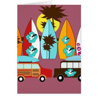 Furgonetas del Hippie del vago de la playa de las Tarjeta De Felicitación