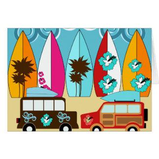 Furgonetas del Hippie del vago de la playa de las Tarjeta Pequeña