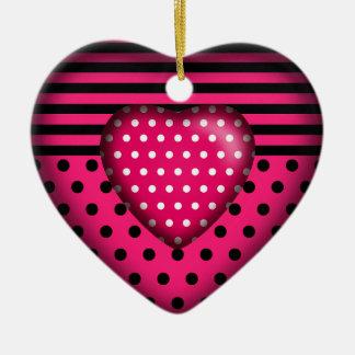 Fuschia blanco negro rayado del corazón el | del adorno navideño de cerámica en forma de corazón